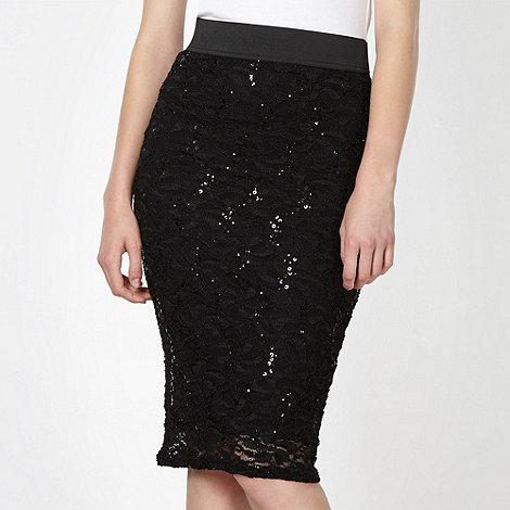 Lipsy - Black sequin lace tube skirt