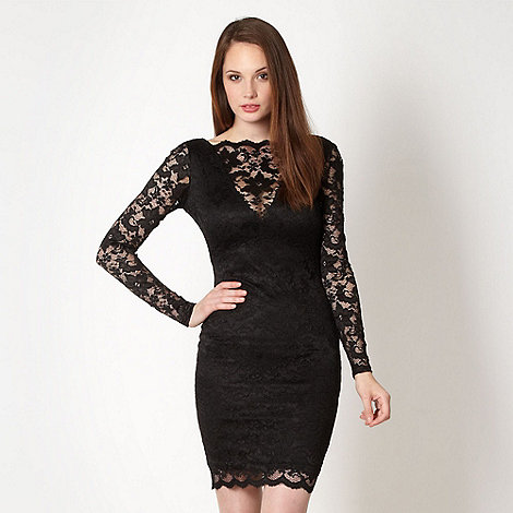 Lipsy - Black cowl back lace dress