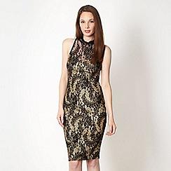 Lipsy - Black glitter lace dress