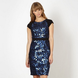 Lipsy VIP blue sequin cut out dress
