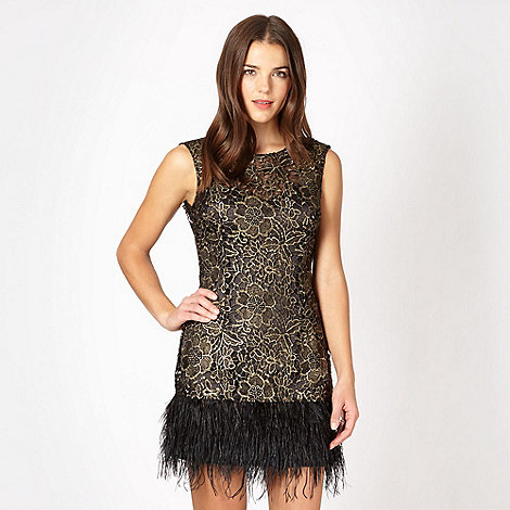 Lipsy Lipsy Vip Black Feather Hem Lace Dress At Debenhams Com