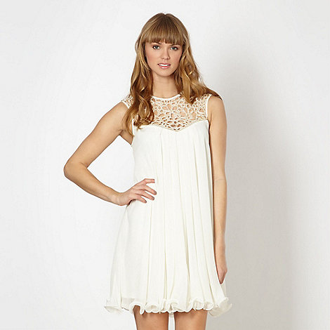 Lipsy - Cream beaded cutout neck dress