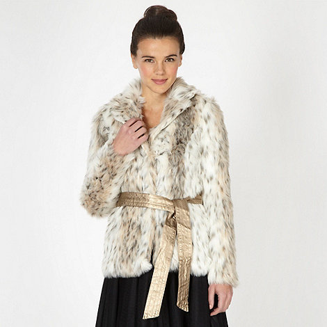 Lipsy - Cream animal effect faux fur jacket