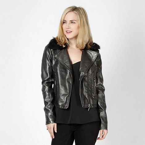 Lipsy - Black metallic faux fur collar biker jacket