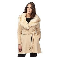Lipsy - Michelle Keegan loves Lipsy natural faux fur collar textured coat