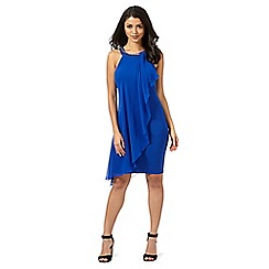 Lipsy - Blue asymmetric chiffon neck dress