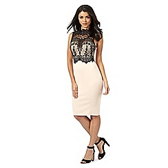 Lipsy - Michelle Keegan loves Lipsy natural lace high neck bodycon dress