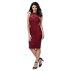 Lipsy - Michelle Keegan loves Lipsy wine lace halter neck dress