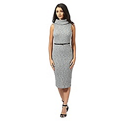 Lipsy - Michelle Keegan loves Lipsy grey ribbed cowl neck dress with belt