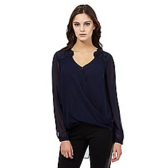 Lipsy - Navy long sleeved fishnet trim blouse