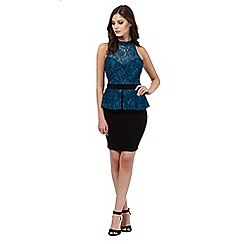 Lipsy - Dark blue peplum halter neck dress