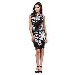 Lipsy - Black rose floral high neck dress