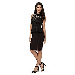 Lipsy - Black sparkle lace detail peplum dress