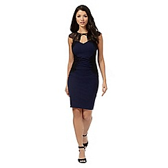 Lipsy - Michelle Keegan loves Lipsy navy lace detail ruched dress