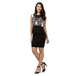 Lipsy - Black floral peplum dress
