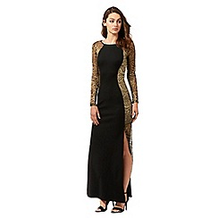 Lipsy - Black floral lace maxi dress