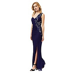 Lipsy - Navy embellished one shoulder maxi dress