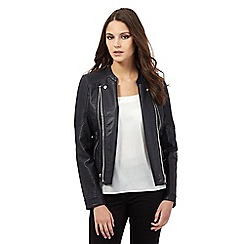 Lipsy - Black leatherette stitch biker jacket