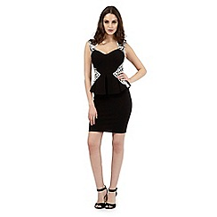Lipsy - Black stitched peplum dress