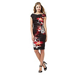 Lipsy - Black lily print dress