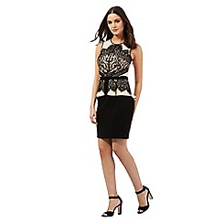 Lipsy - Black floral lace peplum dress