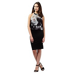 Lipsy - Black rose print 2-in1 dress
