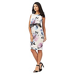 Lipsy - Cream two-in-one floral print dress
