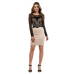 Lipsy - Beige lace dress