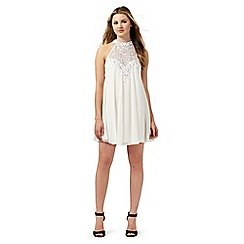 Lipsy - Ivory sequin embellished trapeze dress