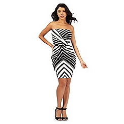 Lipsy - Black and white striped wrap dress