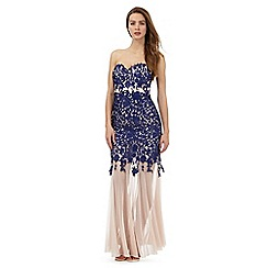 Lipsy - Blue floral embroidered maxi dress
