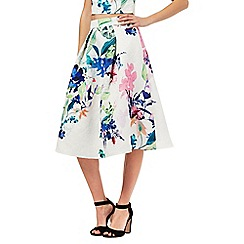 Lipsy - White floral print full skirt