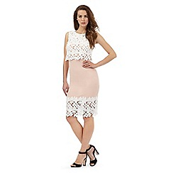 Lipsy - Pale pink floral lace trim dress