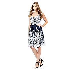 Lipsy - Navy embroidered prom dress