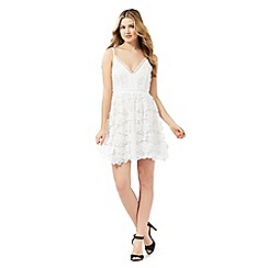 Lipsy - White crochet skater dress