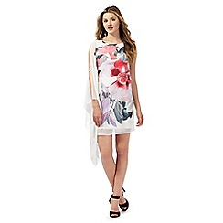 Lipsy - White floral print one shoulder dress