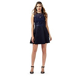 Lipsy - Navy sequin embellished lace prom dress