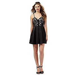 Lipsy - Ariana Grande for Lipsy black floral lace skater dress