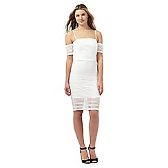 Lipsy - Ariana Grande for Lipsy white striped mesh dress