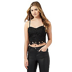 Lipsy - Black lace crop top
