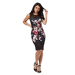 Lipsy - Black floral print lace trim dress