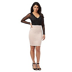 Lipsy - Light pink and black lace detail bodycon dress
