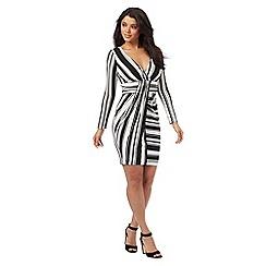 Lipsy - White and black striped wrap-effect dress