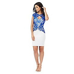 Lipsy - White and blue lace bodycon dress