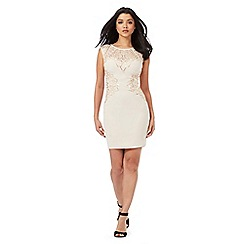 Lipsy - Rose gold mesh sequinned bodycon dress