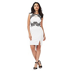 Lipsy - Ivory floral lace knee length dress