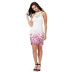 Lipsy - White lace floral print dress