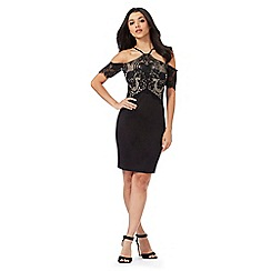 Lipsy - Black lace cold shoulder dress