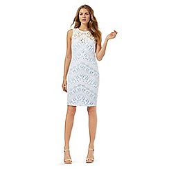 Lipsy - Blue and white lace overlay dress