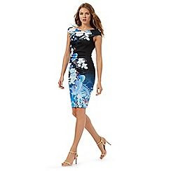 Lipsy - Black and blue floral print Bardot dress
